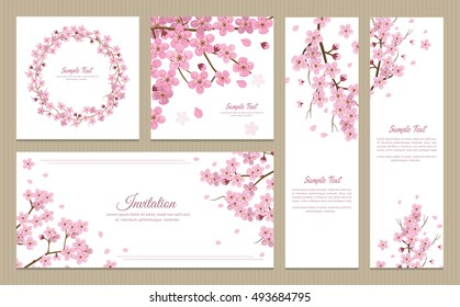 Japanese wedding invitation images stock photos vectors set of greeting cards banners and invitation card with blossom sakura flowers stopboris Images
