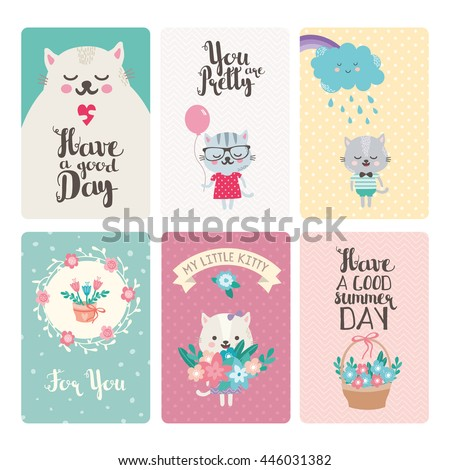 Set greeting cards cute cartoon animals stock vector royalty free set of greeting cards with cute cartoon animals and typography funny cats with balloon and m4hsunfo
