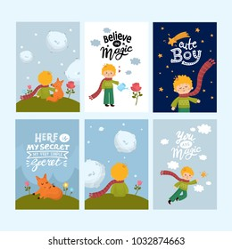 Set of greeting cards with cute little boy. Space, planets, rainbow, stars, cute boy character, little fox. Hand drawn lettering. For nursery poster, baby room print, shower card.