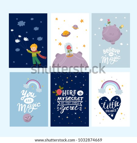 Set greeting cards cute little boy stock vector royalty free set of greeting cards with cute little boy space planets rainbow stars m4hsunfo