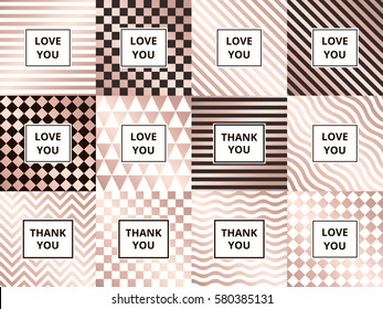 Set of greeting cards. Geometric abstract rose golden vector backgrounds, zigzag, striped, wave, triangle and chess pattern.