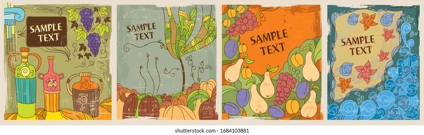 Set of greeting cards  hand drawn  in trendy doodle style of natural, mediterranean rustic traditional background for poster packaging design banner card brochure or cover delivery food shabby battere