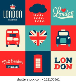 A set of greeting cards with London symbols.