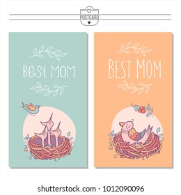 Set Greeting Cards Mothers Day The Inscription Best Mom Bird Sits In