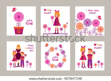 Set Of Greeting Cards For Mothers Day Birthday With Little Girl And Boy Spring