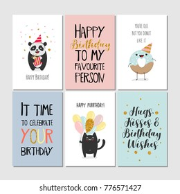 Set of greeting cards with panda, donut, heart, gift, cat, lettering. Vector illustration, printable collection. Happy Birtday