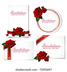 set of greeting cards with roses and ribbons