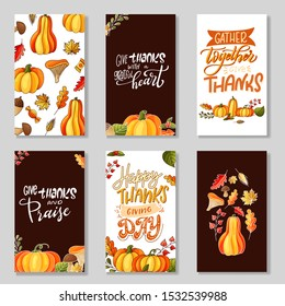 Set of greeting cards for Thanksgiving Day. Seasonal lettering with hand drawn quote. Vector illustration.