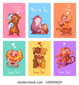 Set of greeting cards for Valentine's day. Six cute postcards with different animals. Vector illustration isolated on a white background.