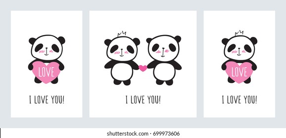 Set Greeting Cards Valentines Day Birthday Stock Vector Royalty