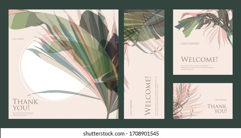 A set of greeting cards with words of gratitude on a green background. Business card template design with tropical leaves for hotel, beauty salon, SPA, restaurant, club. Vector illustration