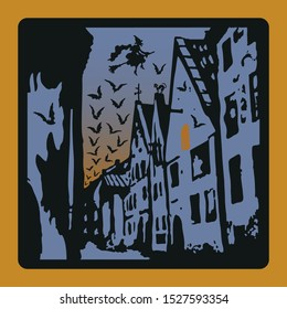 A set of greeting or invitation cards: A blue,orange & black image of an old city at night with a witch flying a broom & a flock of bats,a black cat on the roof of a house,a window glowing in the dark