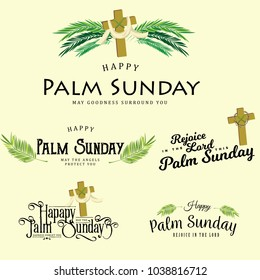 Set of greeting logos for religion holiday palm sunday before easter, cards for celebration entrance of Jesus into Jerusalem vector illustration