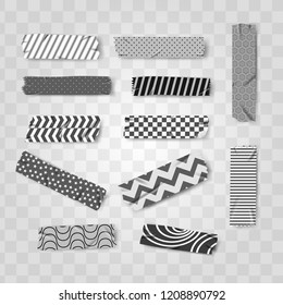 set grey, black and white washi realistic tape pattern vector illustration