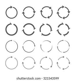 Set of grey circle vector arrows