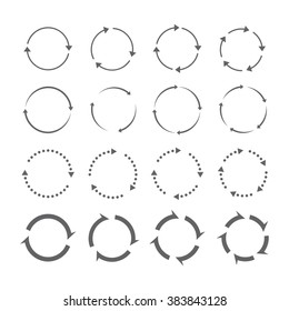 Set of grey circle vector arrows. Round motion arrow symbol of recycling continuity and circulation. Vector selected icons on a white background.