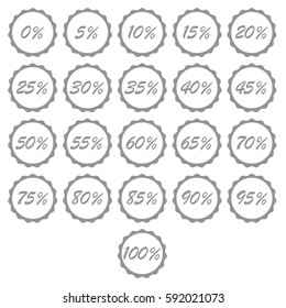 Set of grey percent % sign vector illustrations with scalloped sunburst seal sticker background for retail marketing or percentage price reduction sale