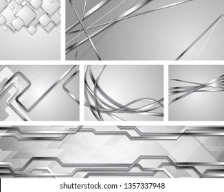 Set of grey silver metallic tech and wavy backgrounds. Abstract chrome style vector design