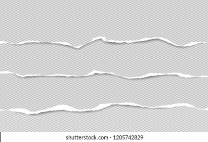 Set of grey squared horizontal ripped paper strips, torn note paper for text or message
