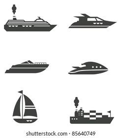 Set of grey stylized boat icons