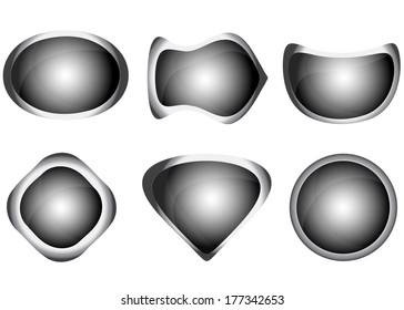 Set of grey web buttons. Vector