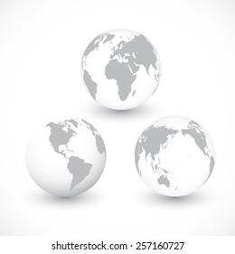 Set Of Grey World Globes vector Illustration