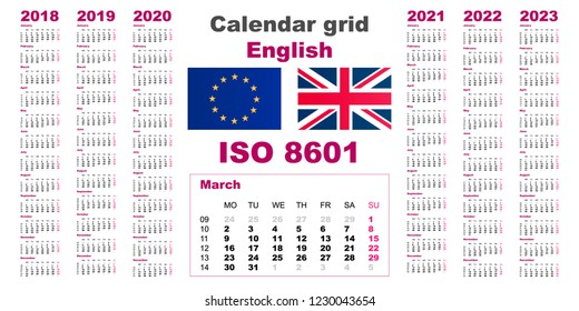 Set grid wall calendar english for 2018, 2019, 2020, 2021, 2022, 2023, ISO 8601 with weeks