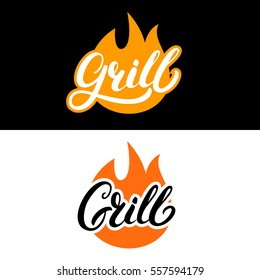 Set of grill hand written lettering logo, label, madge or emblem with fire. Isolated on background. Vector illustration.