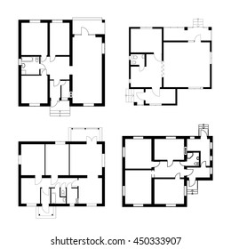 Set of ground floor blueprints. Vector unfurnished floor plans for your design.