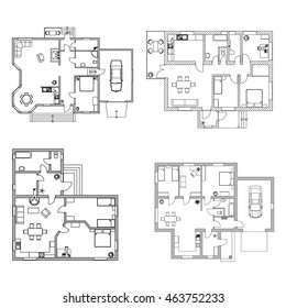 Set of ground floor blueprints. Vector furnished floor plans.