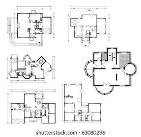set of ground floor blueprints. vector illustration