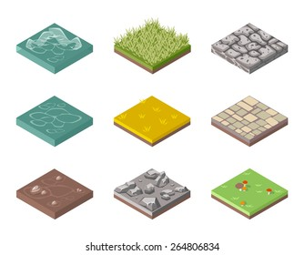 Set of ground surfaces. Grass, rocks and water. Landscape web design. Vector illustration