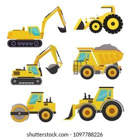 Set of groundworks machines vehicles construction. Heavy vehicles. Crane, dump truck, rock truck, mixer truck.