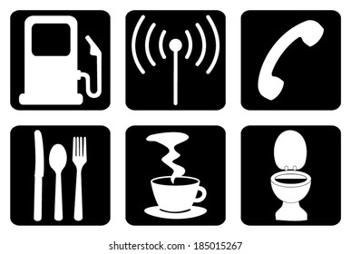 Set, group, collection of motel icons, petrol, wi-fi, phone, restaurant, cafe and wc signs, symbols, isolated on background, black and white design, vector art image illustration. sign, symbol, icon