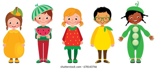 Set of group of kids in costumes of different fruits