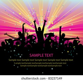 set of group peoples dance vector