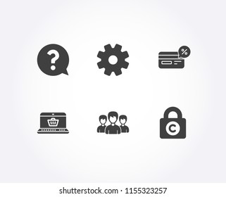 Set of Group, Question mark and Cashback icons. Online shopping, Service and Ð¡opyright locker signs. Group of people, Help support, Non-cash payment. Vector