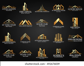 Set and Group Real Estate, Building and Construction Logo Vector Design