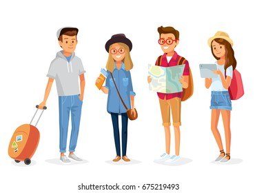 Set group of young tourists traveling people with travel bag backpack and map, going on vacation trip. Travelers portrait collection .Travel and tourism concept.