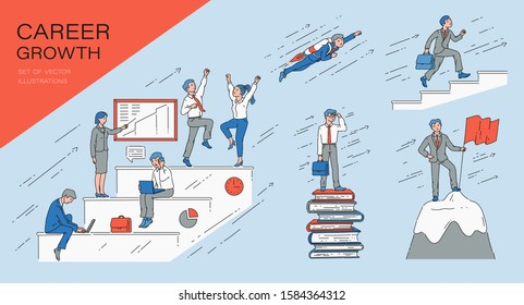 Set of growth career business and success concept. Businessman and employee goes up the career ladder and conquers the business of the top, achieves success. Set of vector cartoon comic illustration.