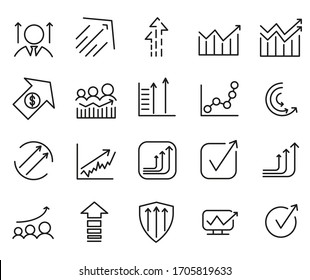 Set Of Growth Line Icon. Vector Illustration Isolated on a white background. Premium Quality Symbols