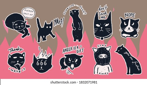 """A set of """" Grumpy Antisocial cats"""" mean concept pins/ stickers design collection, cute, fun and bad anti social vibe, simple monotone pastel color, flat hand drawn style"""