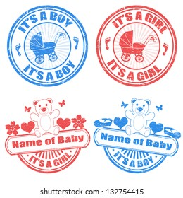 Set of grunge baby boy and baby girl rubber stamps, vector illustration
