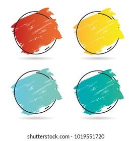 Set grunge brush paint texture design acrylic stroke poster over frame vector. Perfect design for headline, logo and banner