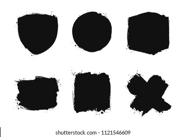Set of grunge brush painted shapes. Black silhouettes