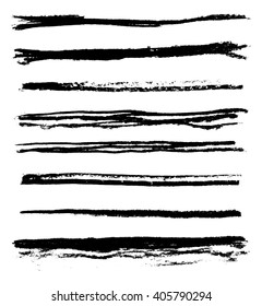 Set of grunge brush strokes, vector illustration