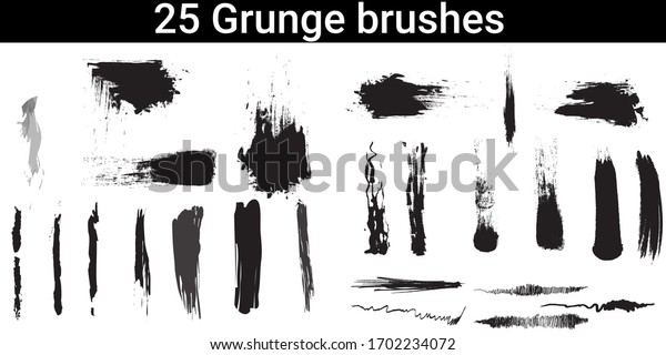 A set of grunge brushes.Different types of brush collection.