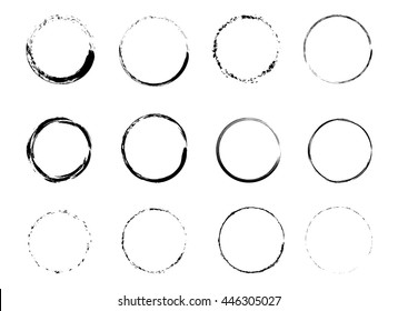 Set of Grunge Circle Stains. vector illustration.