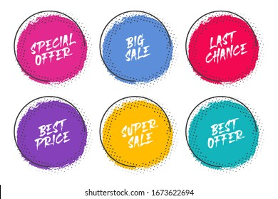 Set of grunge circles with halftone for promotion and commerce