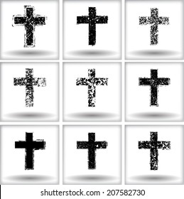 Set of grunge crosses